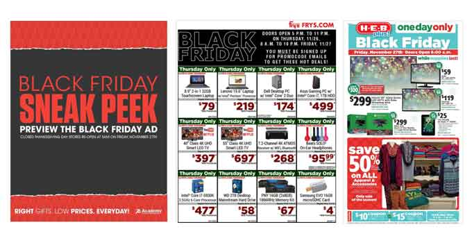Three New Black Friday Ads Posted! Academy Sports, HEB, & Fry's Electronics Sneak Peek!