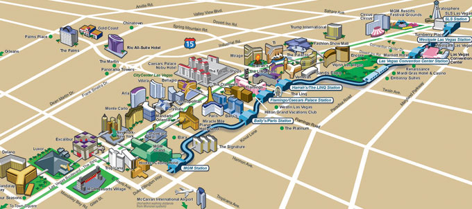 AN ILLUSTRATED MAP OF THE LAS VEGAS MONORAIL.