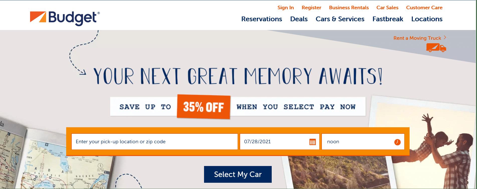 budget car rental website