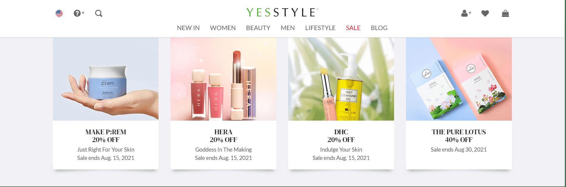 YesStyle website