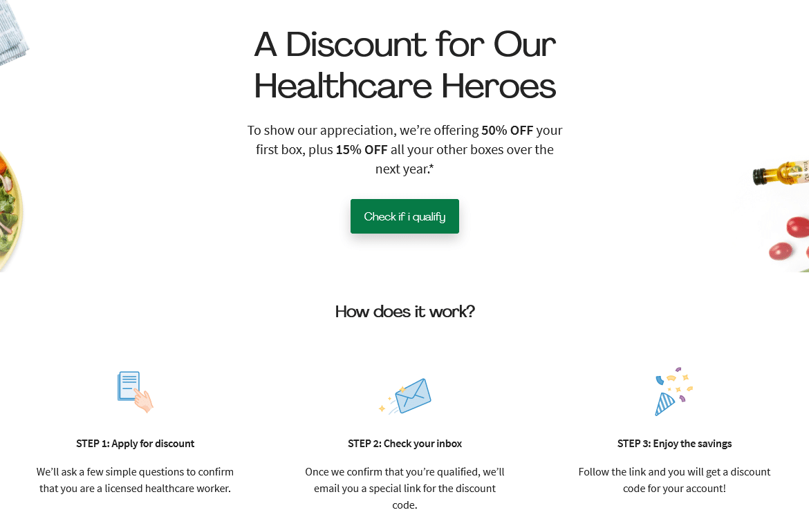 hello fresh Discount for Our Healthcare worker
